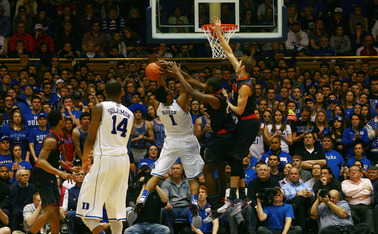 Playing in his first Duke-Maryland game, freshman Jabari Parker scored 23 points, including the go-ahead bucket with 1:05 remaining.