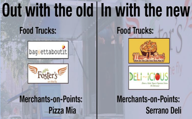 New food trucks Mac-ur-Roni and Deli-icious will rotate through the schedule in place of Baguettaboutit and Foster's on the Fly.