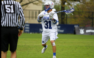 Duke senior Jordan Wolf finished his regular season career on a high note, scoring four goals in the Blue Devils victory.