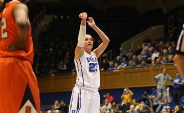 Rebecca Greenwell's free throws with 26 seconds remaining gave Duke the lead and helped the Blue Devils stave off a Syracuse squad that hit 13 triples.
