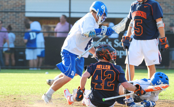 Junior Josh Dionne's five goals led the Blue Devils to victory in a high-scoring contest.