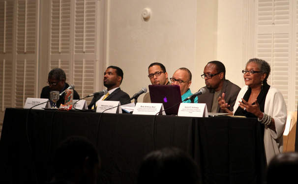 A panel addresses the Duke community at a town hall forum on the shooting of Michael Borwn in Ferguson, hosted by the African and African American Studies department.