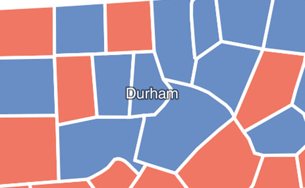 Durham, which has historically voted Democratic, stands out in North Carolina, a traditionally Republican state.