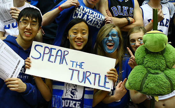 Many Cameron Crazies held up anti-Maryland signs in Saturday's game, which could be the last in Durham.