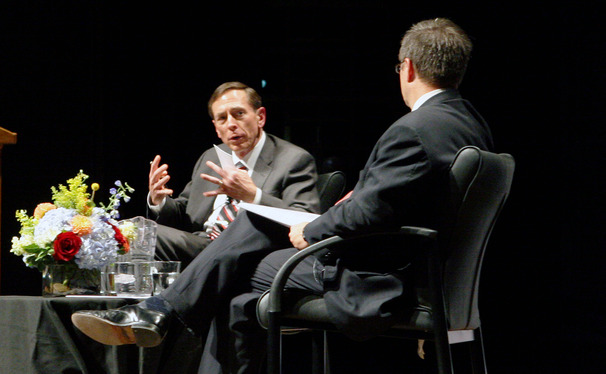 David Petraeus, left, analyzed an array of pressing national security topics with political science professor Peter Feaver, right.