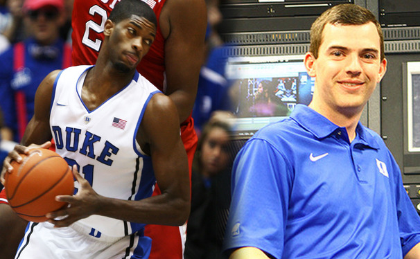 With help from Kevin Cullen (right) and a Duke professor, sophomore Amile Jefferson (left) is learning new advance metrics to analyze his rebounding thanks to his team's SportsVU technology.