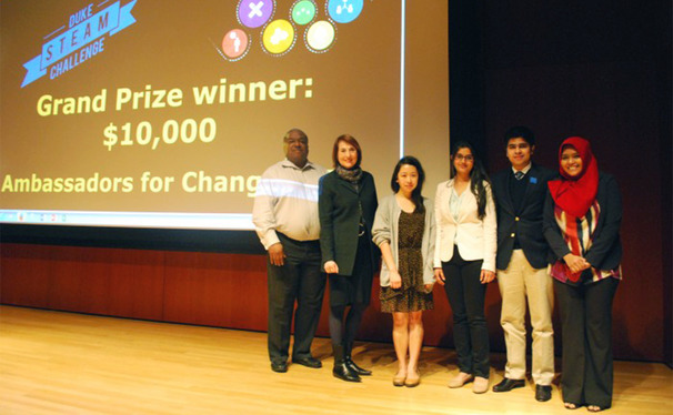 (from left to right) Sophomores Rebecca Lai, Suhani Jalota, Kehaan Manjee and Saffana Humaira won the STEAM challenge.
