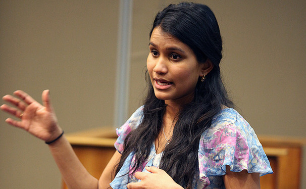 DSG senator Lavanya Sunder, a freshman, presents plans for a new campus-improvement program called Fix My Campus at the group's first meeting of the Spring.