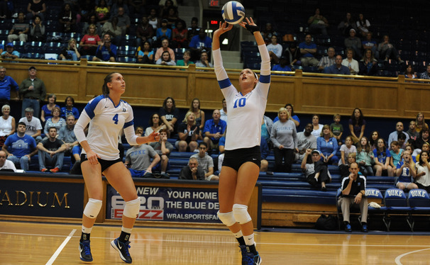 Elizabeth Campbell (right) recorded a game-high 23 kills as Duke notched a 3-1 comeback victory against Illinois.