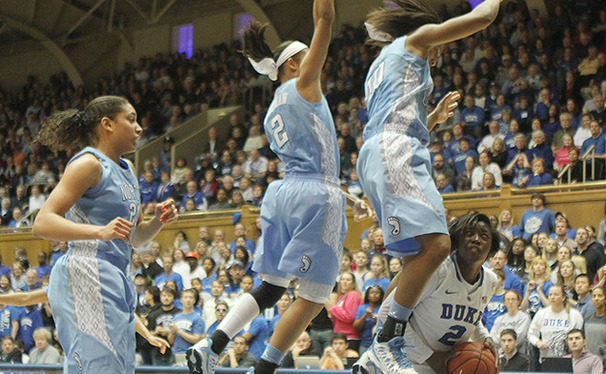 Continuing to step up in the absence of injured point guard Chelsea Gray, Alexis Jones scored 22 points to pace Duke past North Carolina.