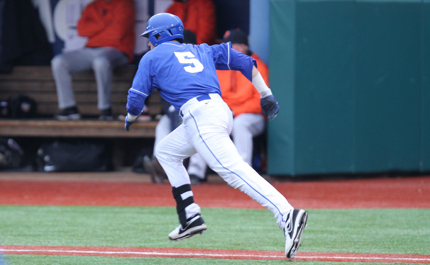 Infielder Matt Berezo got picked off at third base, an error that might have end up costing Duke a scoring opportunity.