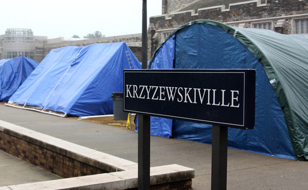 Self-made structures in Krzyzewskiville were taken down because of fire-code dangers they imposed.