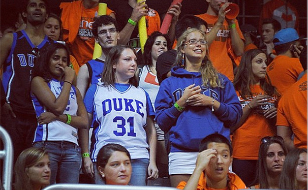 "A photo from DukeBluePlanet of Michelle Picon and her friends at the Miami game captioned ""Found brave Duke fans in the Miami student section."""