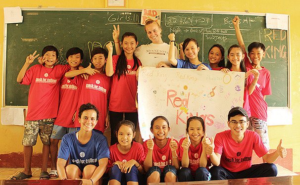 Coach for College teachers combine sports and education to create a fun classroom setting for Vietnamese children.