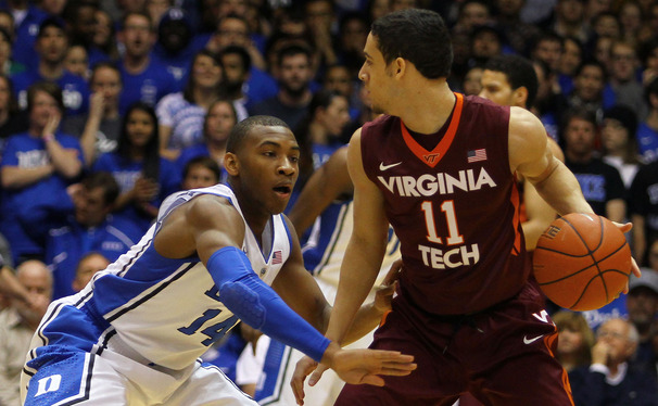 Rasheed Sulaimon played tough perimeter defense on Virginia Tech point guard Devin Wilson, forcing him into six turnovers.