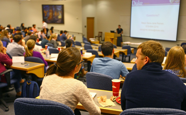 Vice President and University Secretary Richard Riddell spoke at the GPSC meeting Tuesday night.