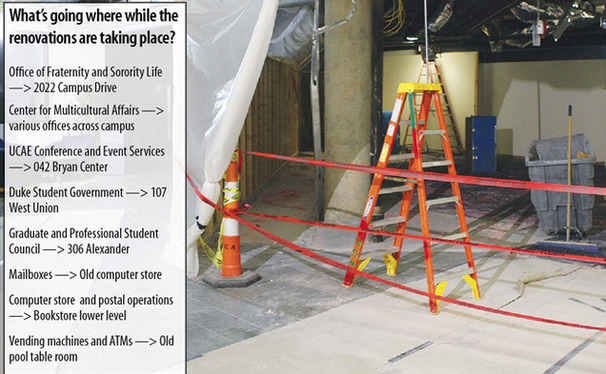 Students return from winter break to see the lower levels of the Bryan Center in the midst of renovations. The renovations, which are expected to be completed by the Fall, have displaced several offices—some temporarily and others permanently.