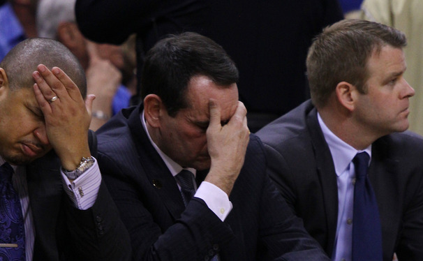 Duke head coach Mike Krzyzewski was checked by the team's medical staff after suffering from dizziness and light-headedness during his team's loss to Wake Forest.