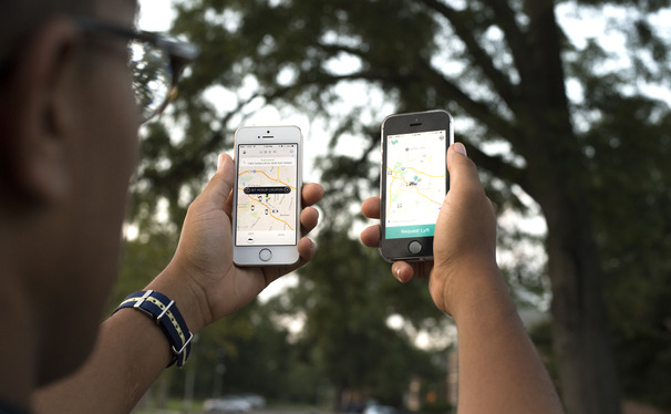 Students can request services from Uber and Lyft ride-sharing companies through their phones, the popularity of which has caused Durham cab companies to adjust their business models.