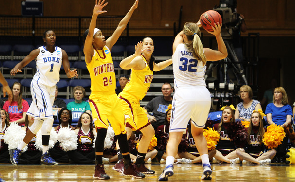 Tricia Liston looks into the post for center Elizabeth Williams, who was one of Duke's many post weapons to excel against Winthrop.