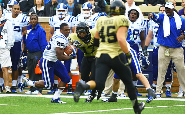 Freshman Jela Duncan lost his helmet after a reception this past weekend when Wake Forest linebacker Justin Jackson ripped it off.