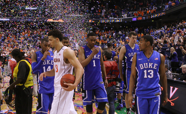 Virginia pulled away late to knock off Duke 72-63 and deny the Blue Devils of their first ACC tournament title in three years.