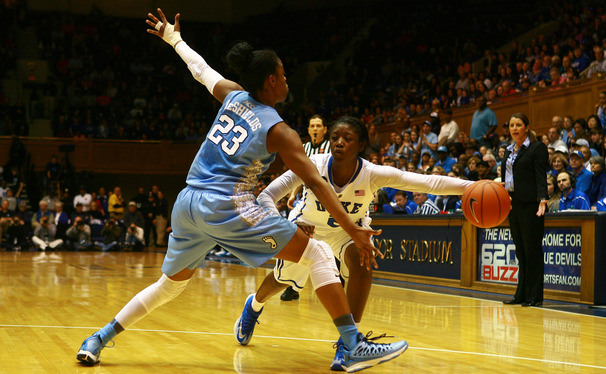 North Carolina's Diamond DeShields and Allisha Gray combined for 54 points as the Blue Devils fell to the Tar Heels at Cameron Indoor Stadium.