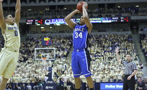 Graduate student Andre Dawkins hit six-of-seven three-point attempts—helping Duke to pull away from Pittsburgh in the final minutes of Monday night's 80-65 victory.