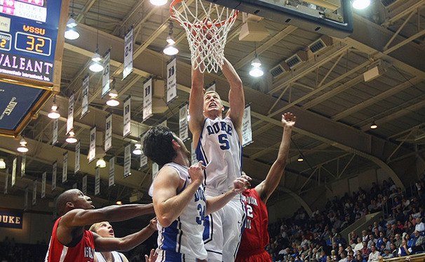 Senior forward Mason Plumlee scored 19 points on 7-of-7 shooting and grabbed 10 rebounds in the Blue Devils' exhibition game against Winston-Salem State Thursday night.