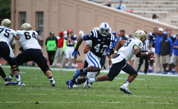 Duke's defense forced three turnovers and held Navy to just 73 yards of offense in the second half in a 35-7 win.