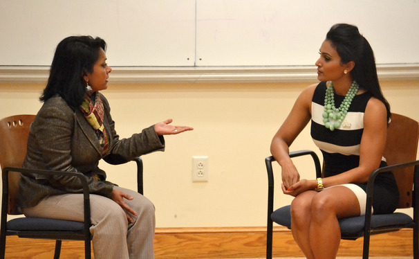 Assistant dean for academic affairs of Trinity College of Arts and Sciences led a Q and A with Nina Davuluri Thursday evening.