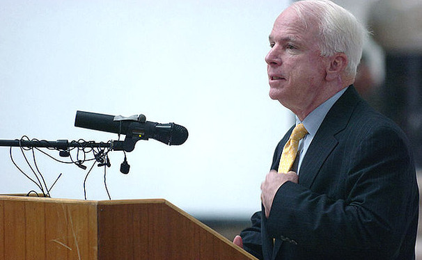 Arizona Senator John McCain spoke about veterans affairs on behalf of Mitt Romney's presidential campaign in Cary Tuesday morning.