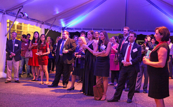 Alumni and students from the Graduate School attended a reception before the homecoming dance.