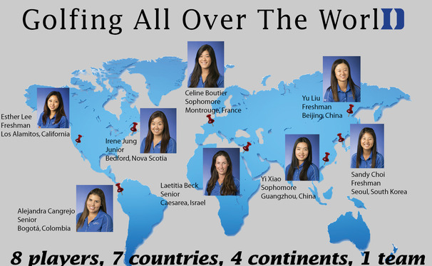 Representing seven countries, this year's Duke women's golf squad may be one of the most geographically diverse teams in the history of Duke athletics.
