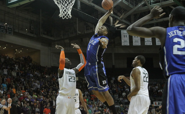 Freshman Jabari Parker scored 17 points and pulled down a career-high 15 rebounds as the Blue Devils routed Miami.