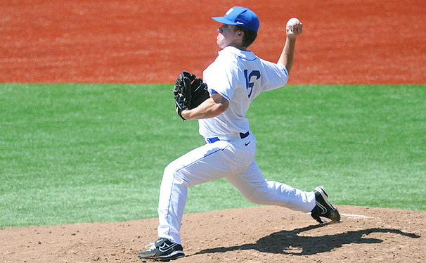 Robert Huber threw a complete game Sunday in the Blue Devils' win against the Terrapins, striking out six while allowing three runs on five hits.