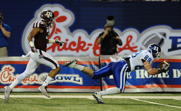 Braxton Deaver's diving catch was one of many offensive plays the Blue Devils made in a Chick-fil-A Bowl loss to Texas A&M.