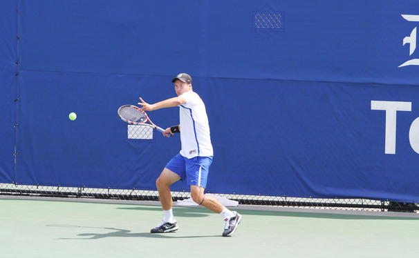 Jason Tahir notched victories in both singles and doubles action to help Duke top Winthrop 4-0 and advance to the next round of the NCAA Team Championship.