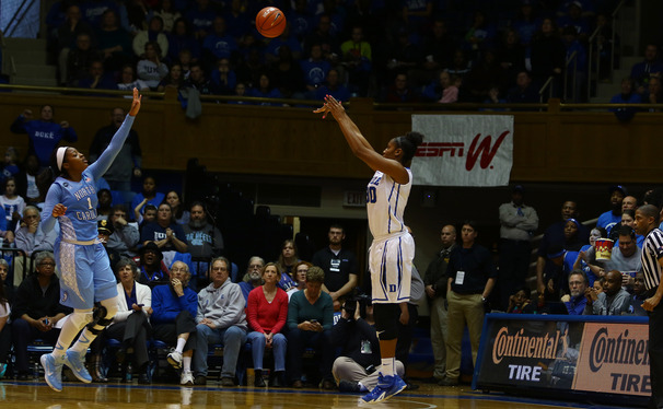The Blue Devils' got a boost from resilient post player Amber Henson on their way to Sunday's upset of North Carolina.