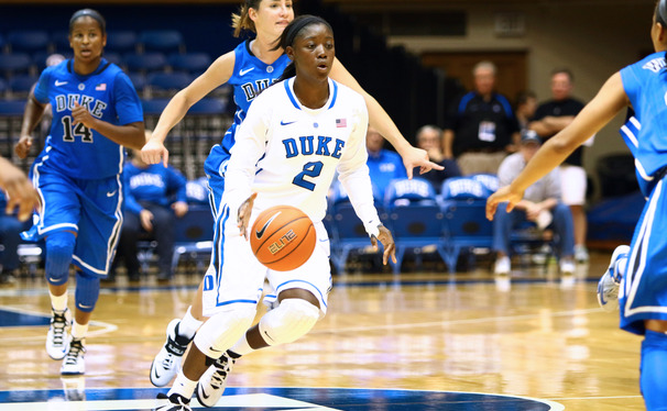 Alexis Jones scored a game-high 29 points for Duke in the team's annual Blue/White Scrimmage.