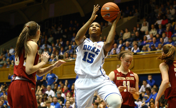 Senior Richa Jackson scored 17 points off the bench as Duke overcame early foul trouble and topped Boston College 78-57.