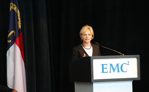 Gov. Bev Perdue speaks at the grand opening of EMC Corporation's new Center of Excellence.