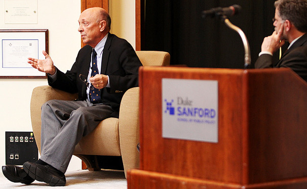 Robert James Woolsey speaks about reducing American dependence on fossil fuels in Fleishman Commons Wednesday.