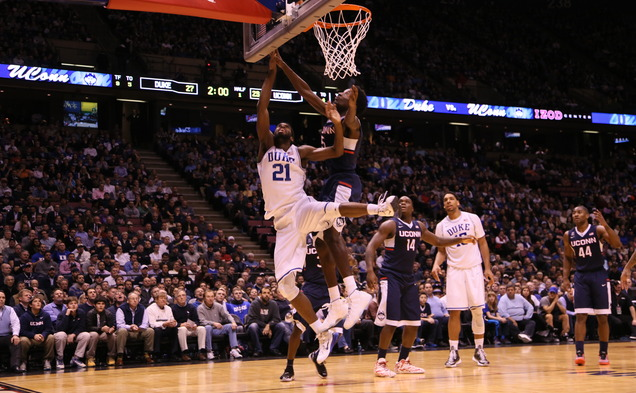 Captain Amile Jefferson scored 11 points and grabbed 13 rebounds to help No. 2 Duke top Connecticut at the IZOD Center.