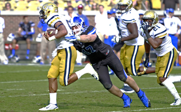 Senior linebacker David Helton has stepped up for the Blue Devils this season, as he leads the nation's fifth-best scoring defense and ranks third in the ACC in tackles.