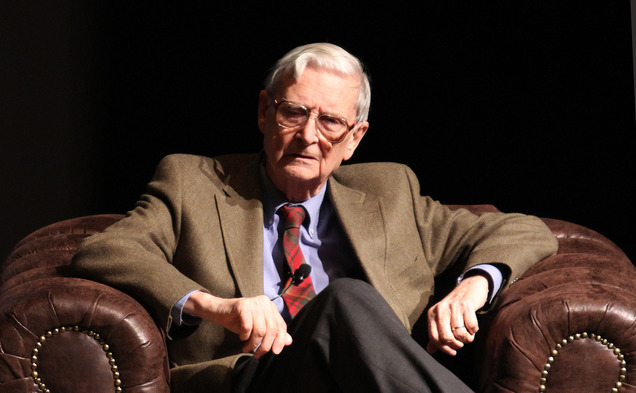 E.O Wilson talked about preserving biodiversity in Reynolds Theater Tuesday.