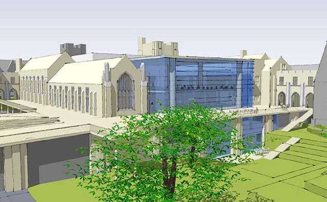 This artist's rendering shows what the finished West Union Building renovations will look like. The project's architects, Grimshaw, will be answering questions for students and presenting preliminary designs tomorrow afternoon.
