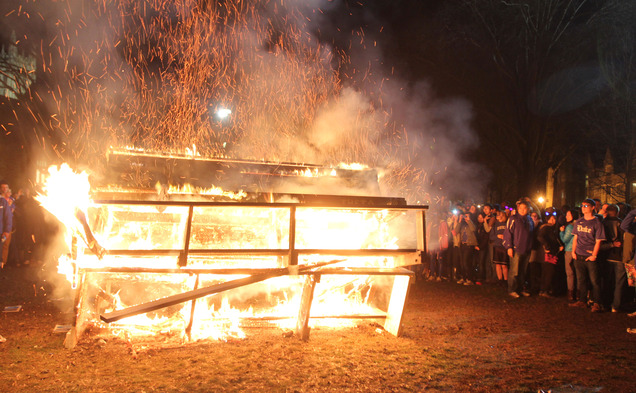Duke students celebrate a win by burning benches on the Main West Quadrangle.