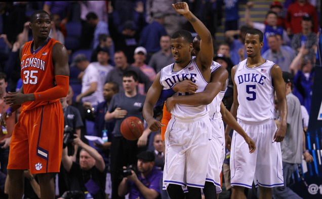 Duke survived another near-collapse to Clemson and advanced to face N.C. State in tomorrow's ACC tournament semifinals.