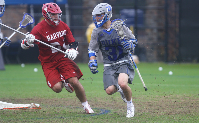 Senior Jordan Wolf and sophomore Deemer Class led the Blue Devil attack against the Fighting Irish with a combined nine goals and three assists.
